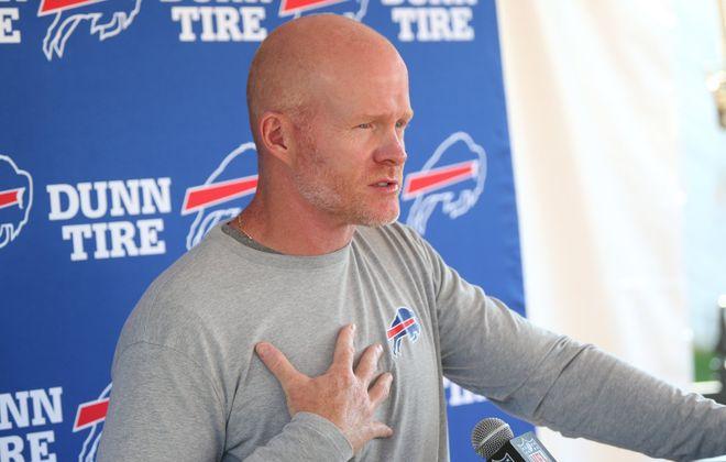 Buffalo Bills coach Sean McDermott speaks to the press on Tuesday, Aug. 15, 2017. (James P. McCoy/Buffalo News)