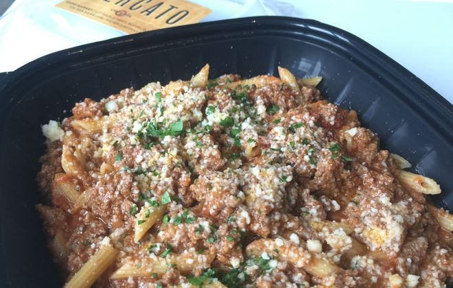 Penne with bolognese sauce is one of the choices at Mercato's EXPO location. (Andrew Galarneau/Buffalo News)