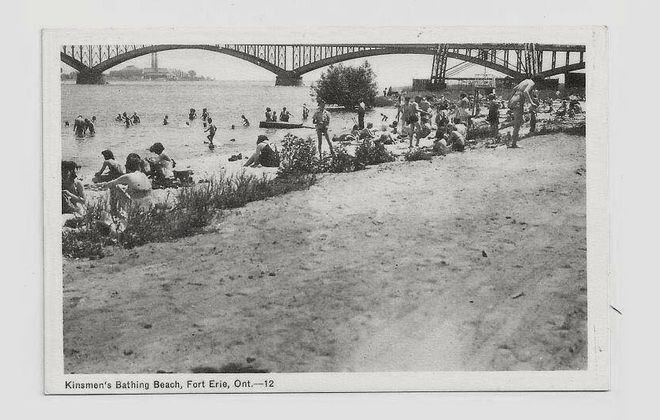 """The Fort Erie beach known as the 'Baby Hole,' identified on this postcard as """"Kinsmen's Beach."""" (Image courtesy Paul Panepinto)"""
