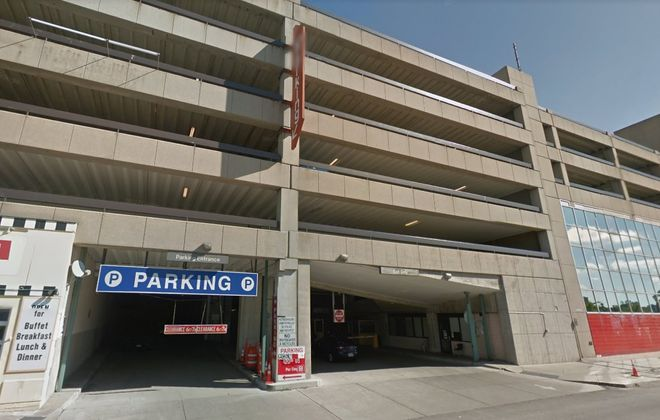 A woman from Ohio was hit by a garbage can tossed out  of a parking garage in Niagara Falls. (Google Maps)