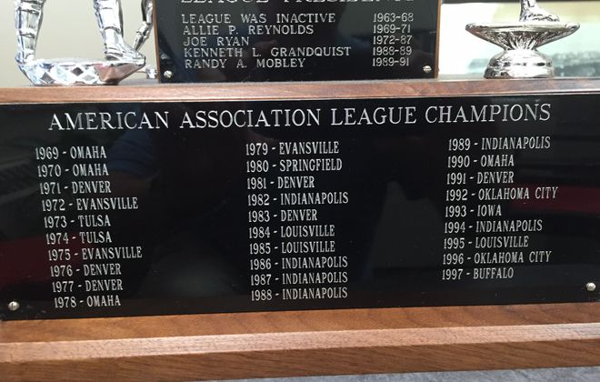 The American Association trophy remains in the Bisons' offices, showing their 1997 title as the last in league history.