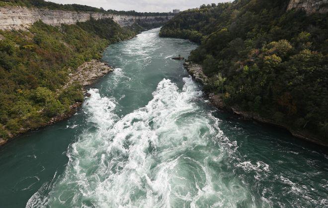 The Niagara River below the Whirlpool Bridge has whitewater rapids. (Sharon Cantillon/Buffalo News)