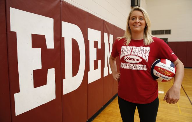 When Eden looked for a replacement coach to continue its girls volleyball success, Hailee Herc was an obvious choice. (Harry Scull Jr./Buffalo News)