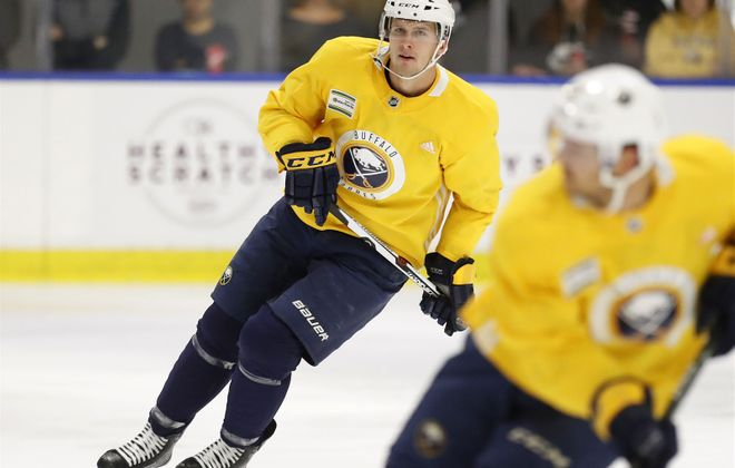 Justin Falk is one of 12 defensemen still on the Sabres' roster after Saturday's cuts. (Mark Mulville/Buffalo News)