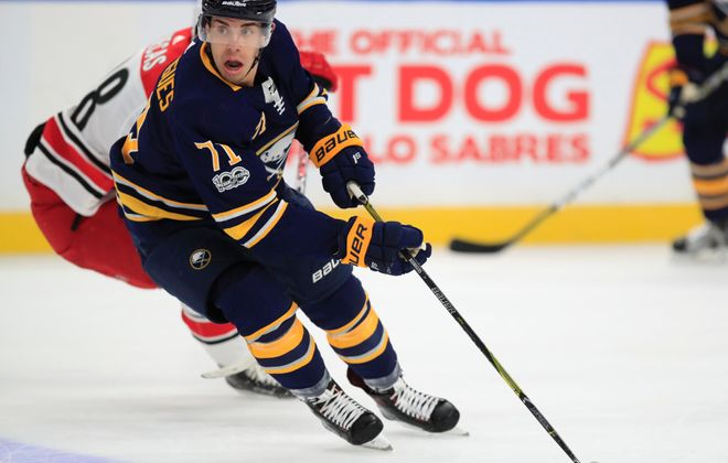 Evan Rodrigues says he has a quicker burst after focusing on speed during the summer. (Harry Scull Jr./Buffalo News)