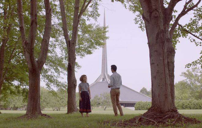"""Haley Lu Richardson and John Cho explore the central Indiana landscape, along with their emotional states, in """"Columbus."""" (Sundance Film Festival)"""