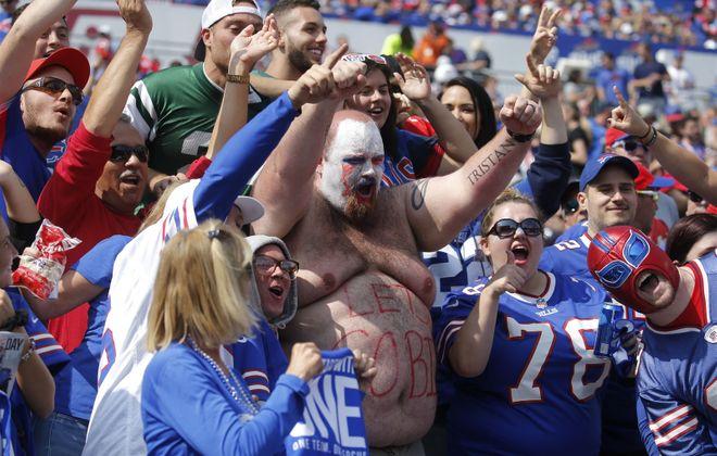 Bills fans cheer during the second quarter. (Robert Kirkham/Buffalo News)