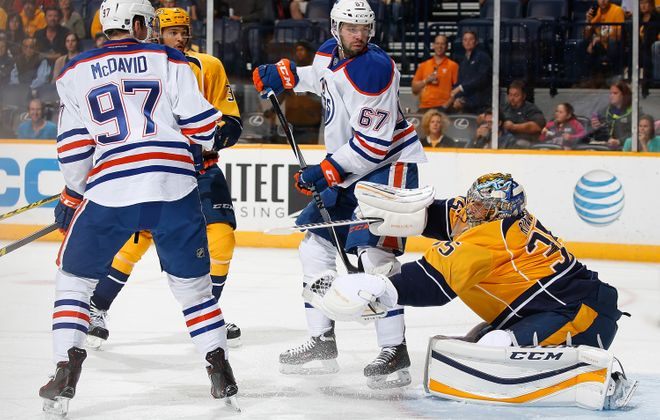 Benoit Pouliot (67) saw how much difference a star like Connor McDavid could make. (NHLI via Getty Images)
