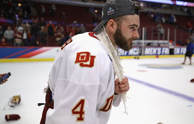 Will Butcher was a highly sought defenseman after a championship career at the University of Denver. (Getty Images)