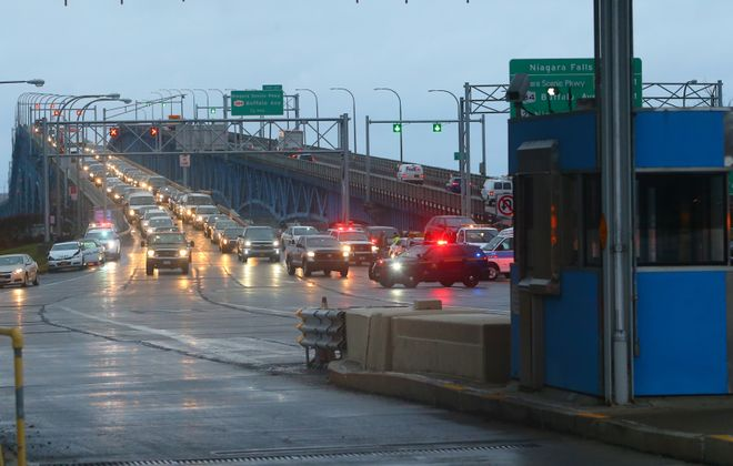 Lanes begin to open up after a multi vehicle accident is cleared by State Police, Border Patrol and rescue crews at the toll plaza of Grand Island I-190 North bound bridge  in Grand Island, N.Y., on  Wednesday,  Jan. 4, 2017. (John Hickey/Buffalo News)