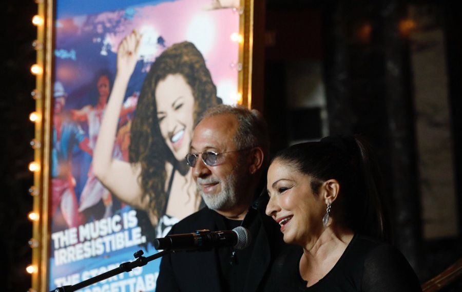 "Cuban-American music legends Emilio and Gloria Estefan appeared in Shea's Performing Arts Center Thursday morning for the launch of the musical ""On Your Feet!"" (Derek Gee/Buffalo News)"