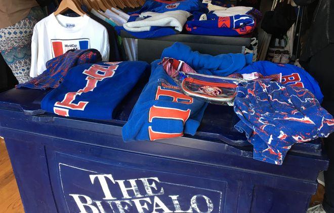 "Hundreds of vintage Bills apparel items were on display on Saturday at Buffalo Closet's ""Kiss the Season Hello"" pop-up shop on Elmwood. (Jonah Bronstein)"