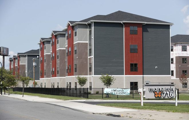 The Monarch 716 apartment complex in Buffalo has had problems almost from the start. (Mark Mulville/Buffalo News)