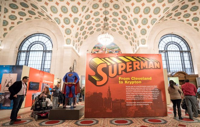 """A Superman figure wears the costume worn by Brandon Routh in """"Superman Returns."""" (Photo by Cleveland Public Library)"""