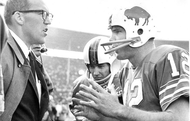 Head coach Joel Collier, left, was fired by owner Ralph Wilson after the Bills lost to the Oakland Raiders, 48-6, on Sept. 15, 1968. (Buffalo News file photo)
