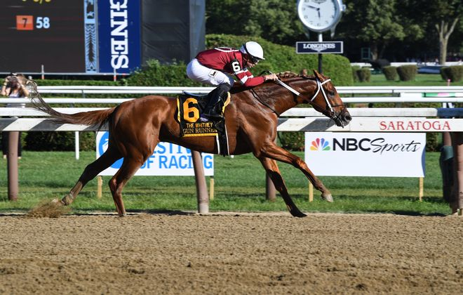 Gun Runner looks to complete the Whitney-Woodward double for the first time since 2007. Photo Credit: Viola Jasko/NYRA