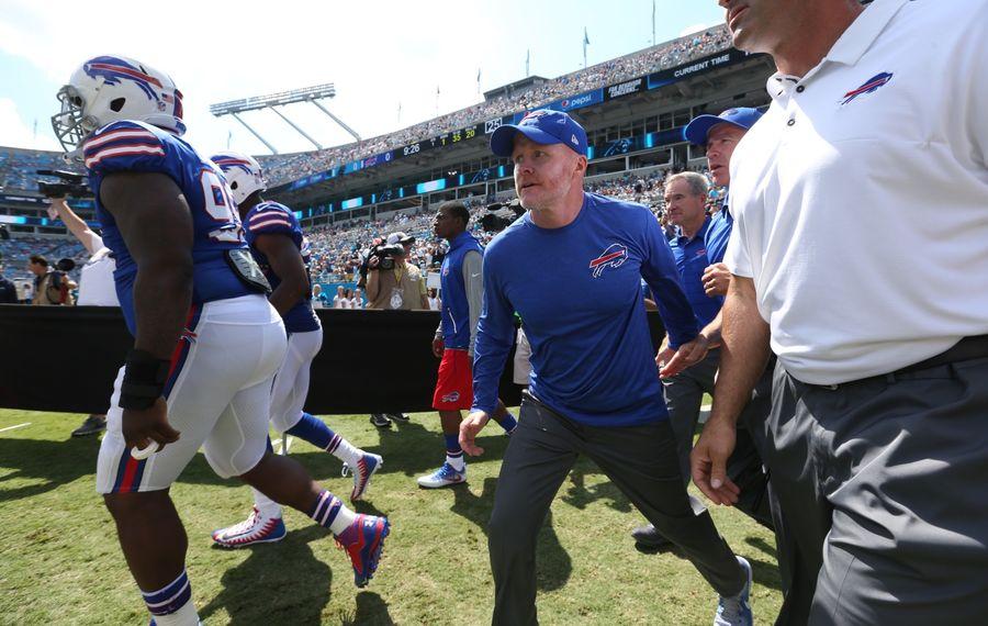 Bills coach Sean McDermott takes the field with his team in Carolina. (James P. McCoy/Buffalo News)