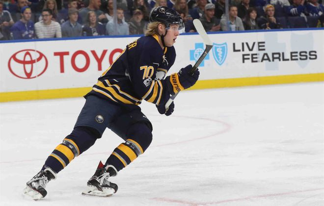 Alexander Nylander had one assist in four games with the Sabres last season. (James P. McCoy/News file photo)