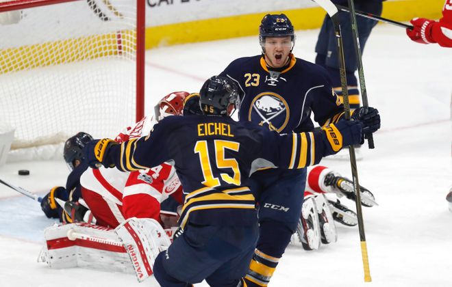 Sam Reinhart (23) will go right back on the top line with Jack Eichel (Harry Scull Jr./News file photo).