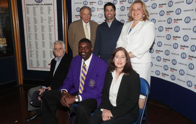 "Charles O'Brien (back row, left to right) is joined by Micheal Peca and Stacey Schroeder-Watt as well as (front row, left to right) Danny DiLiberto, Willie ""Hutch"" Jones and Jodi Hollander-Correa (representing her sister Sandra Hollander) at the introductory press conference for this year's 2017 Greater Buffalo Sports Hall of Fame inductees. (James P. McCoy/Buffalo News)"