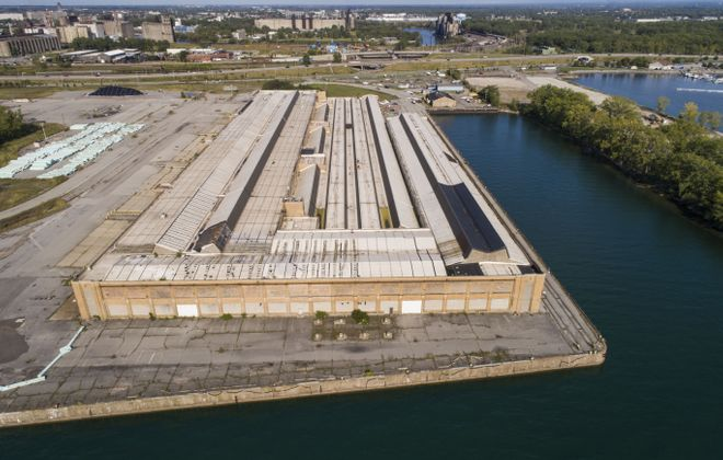 A drone view of  cavernous Port Terminal A on the Outer Harbor.   (Derek Gee/Buffalo News)