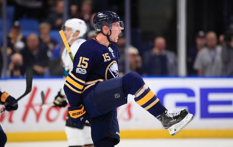 Jack Eichel's first-period celebration was short-lived as his goal was wiped out by a coach's challenge. (Harry Scull Jr./Buffalo News)