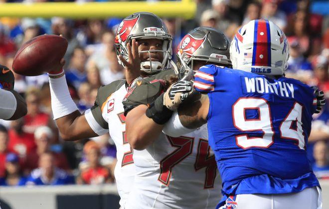 Tampa Bay Buccaneers quarterback Jameis Winston throws against the Buffalo Bills. (Harry Scull Jr./Buffalo News)