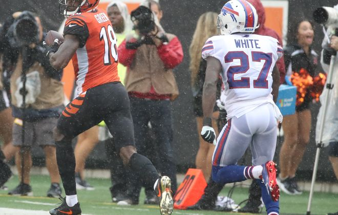Bengals wide receiver A.J. Green (18) beats Bills cornerback Tre'Davious White (27) for a touchdown in the first quarter. (James P. McCoy / Buffalo News)