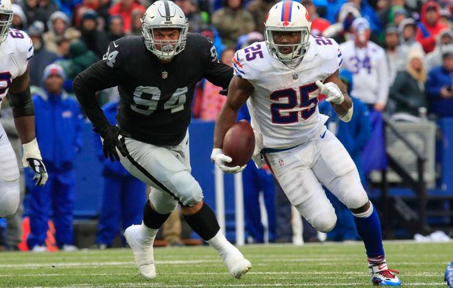 Buffalo Bills running back LeSean McCoy (25) has room to run against the Oakland Raiders. (Harry Scull Jr./ Buffalo News)