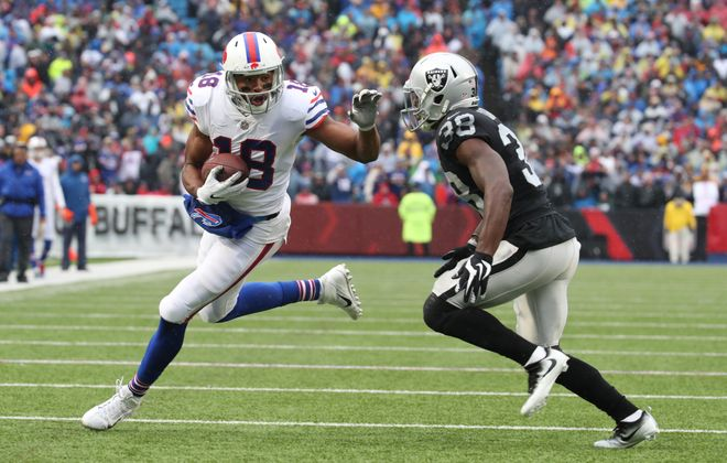 Bills receiver Andrew Holmes had season highs in catches and receptions against his former team. (James P. McCoy/Buffalo News)