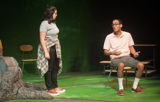 """Eliza Zanolli-Stiles and Azarias Soto appear in the Paul Robeson Theatre and SUNY Buffalo State theater department's co-production of """"Blood at the Root."""""""