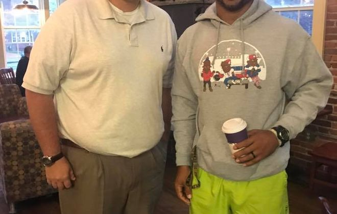 Bills season-ticket holder C.J. Long met linebacker Lorenzo Alexander for breakfast, and conversation on Tuesday morning. (Photo courtesy of C.J. Long)