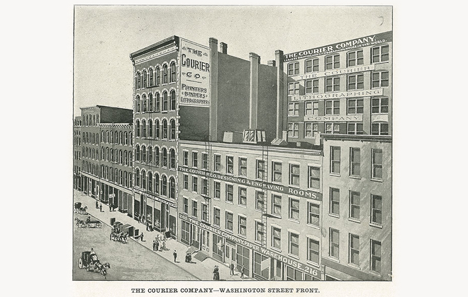 """The Courier Company, where today stands the former HSBC Tower. (Photo from """"Buffalo: Old and New"""")"""