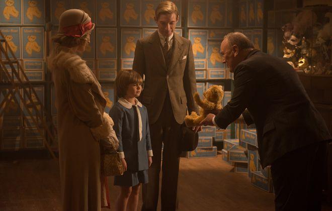 "Margot Robbie, Will Tilston, Domhnall Gleeson and Richard Clifford in ""Goodbye Christopher Robin."" (David Appleby/Twentieth Century Fox/TNS)"