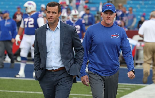 Bills General Manager Brandon Beane and coach Sean McDermott. (James P. McCoy/News file photo)