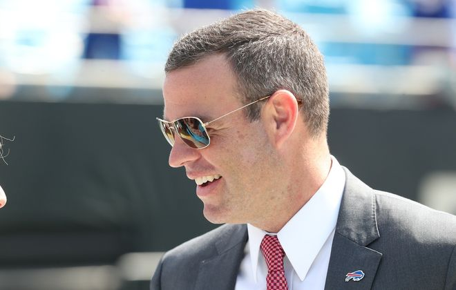 Bills General Manager Brandon Beane has made one in-season trade this year. Does he have another one coming? (James P. McCoy/Buffalo News)