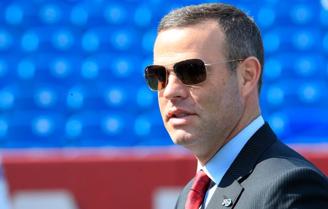 Bills General Manager Brandon Beane signed 18 unrestricted free agents from other teams this offseason. (Harry Scull Jr./Buffalo News)