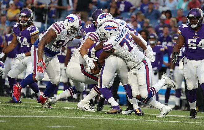 Bills defensive end Eddie Yarbrough earned a spot on the 53-man roster last year with a strong training camp. (James P. McCoy/Buffalo News)