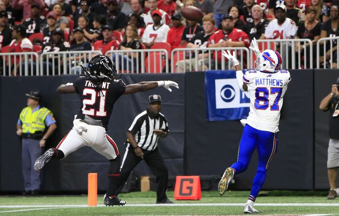 Buffalo Bills receiver Jordan Matthews scores against the Atlanta Falcons during second quarter action Sunday in Mercedes-Benz Stadium. (Harry Scull Jr./ Buffalo News)