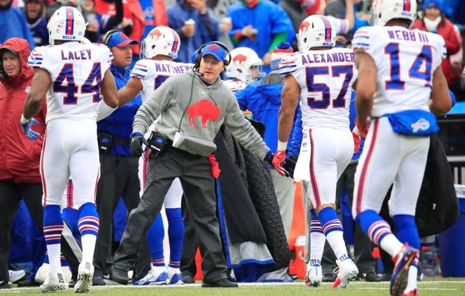 Buffalo Bills head coach Sean McDermott congratulates linebacker Lorenzo Alexander after a recovered Oakland Raiders fumble during the third quarter at New Era Field in Orchard Park on Sunday, Oct. 29, 2017.  (Harry Scull Jr./News file photo)