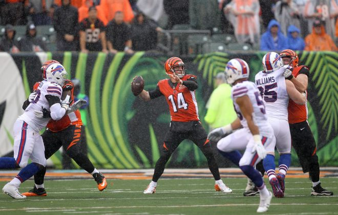 Andy Dalton beat the Bills' blitz on the big third-quarter play. (John Grieshop/Getty Images)