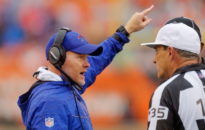 Bills coach Sean McDermott's team heads into the bye week at 3-2 after an ugly offensive performance against the Bengals on Sunday. (Getty Images)