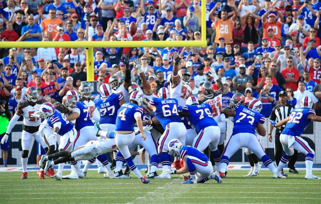 Stephen Hauschka kicks the game-winning field goal. (Harry Scull Jr./Buffalo News)
