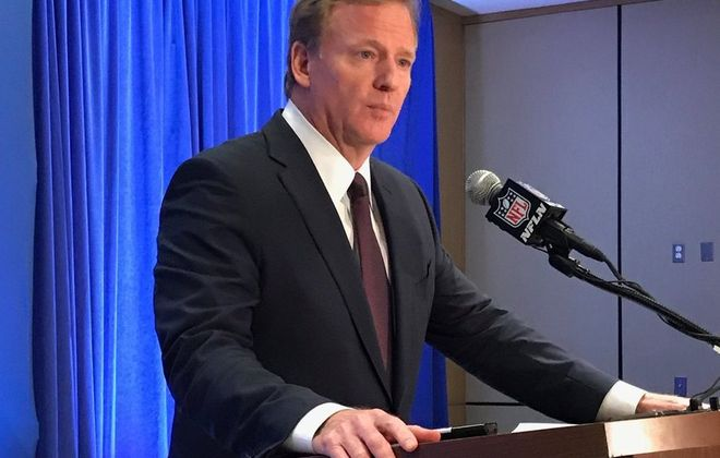 Roger Goodell at the 2016 NFL Fall Meeting in New York City. (Vic Carucci/Buffalo News)