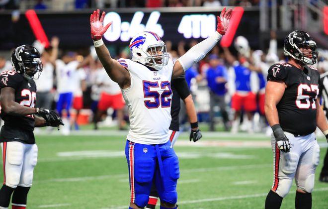 Preston Brown celebrates the Bills' big victory at Atlanta. (Harry Scull Jr./Buffalo News)