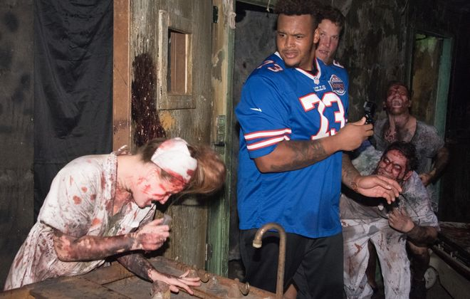 Dion Dawkins and the other members of the Bills Toyota Rookie Club led students from two Buffalo Public Schools through the the attractions at Frightworld in Tonawanda. (Photo courtesy of the Buffalo Bills)
