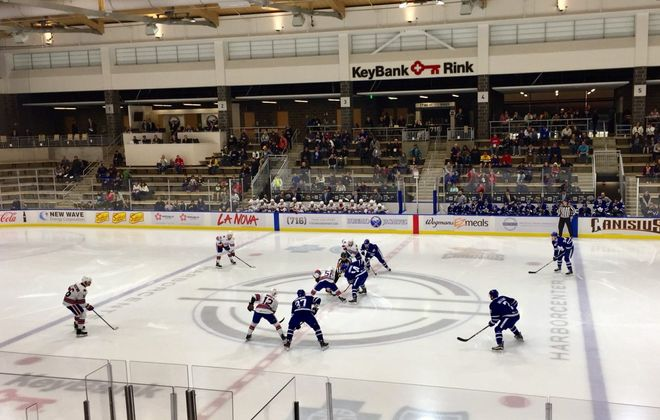 HarborCenter, which hosted an Amerks-Marlies exhibition Saturday night, has quickly become a favorite practice spot for new Sabres coach Phil Housley (John Vogl/Buffalo News).
