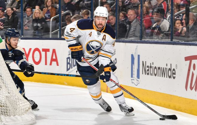 Josh Gorges, who played 66 games for the Sabres last season, made his season debut Thursday in San Jose (Getty Images).