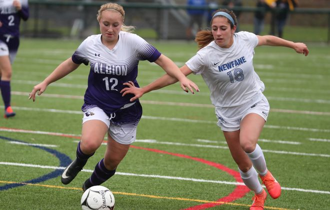 Emily Foltz scored the lone goal in Newfane's 1-0 win over Albion in the Class B-1 final. (James P. McCoy/Buffalo News)