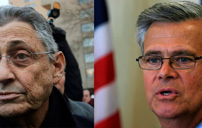 Former Assembly Speaker Sheldon Silver, left, has an annual pension of $79,000, and ex-Senate Majority Leader Dean Skelos has one for $96,000.  (Skelos photo by Harry Scull Jr./Buffalo News; Silver photo by Getty Images)